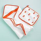 "Orange Fish Towel & Washcloth SetTowel: 32"" x 32""Washcloth: 15"" x 15"""